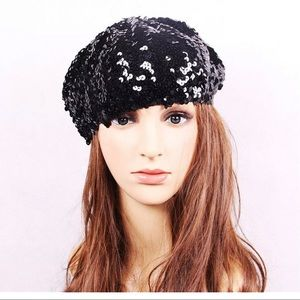 Accessories - Black sequin holiday party Beret hat cap OS NYE